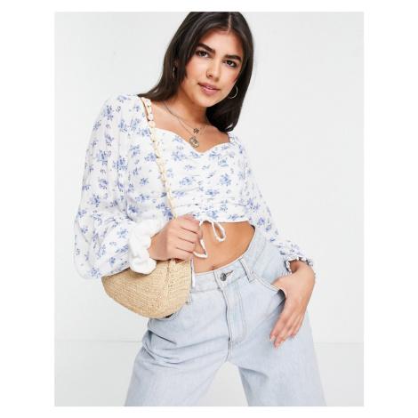 Hollister off the shoulder cinch top in blue floral-Multi