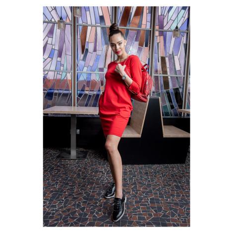 Červené šaty s dlouhým rukávem Sintimo