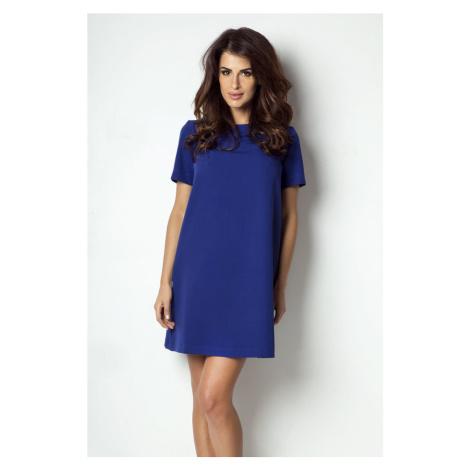 Dámské klasické šaty s krátkým rukávem v modré barvě P17 IVON