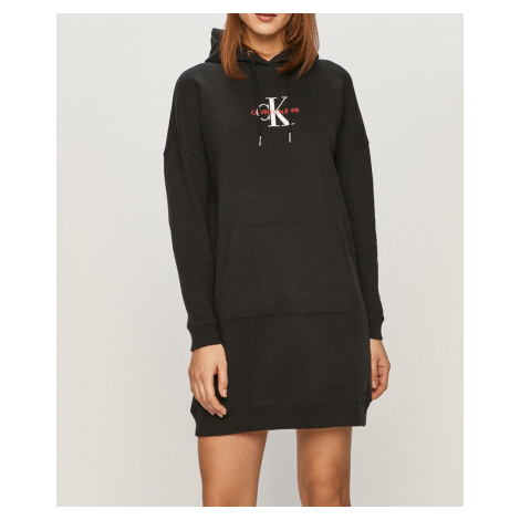 Calvin Klein Calvin Klein dámské černé mikinové šaty MONOGRAM HOODIE DRESS