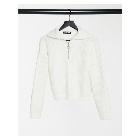 Fashion Union jumper with half zip in cable knit-Cream