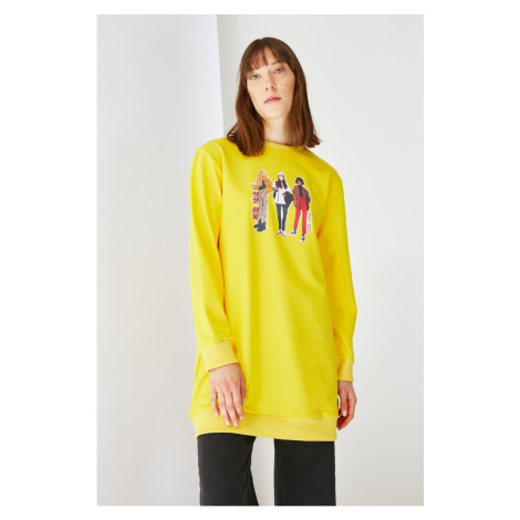 Trendyol Yellow Printed Crew Neck Knitted Sweatshirt