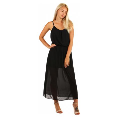 Jednobarevné šifonové maxi šaty