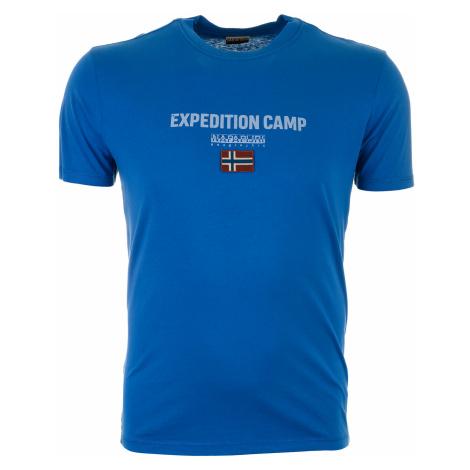Pánské modré tričko Napapijri s velkou našitou vlajkou
