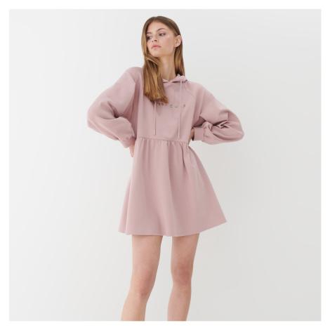 Mohito - Teplákové šaty s kapucí - Růžová