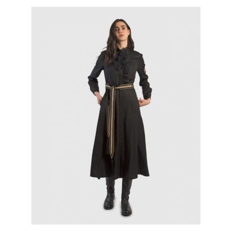 Šaty La Martina Woman Tencel Dress L/S - Černá
