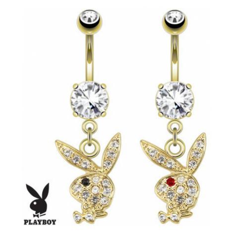 Piercing do bříška, zlatá barva, hlava zajíčka Playboy, čiré zirkony - Barva zirkonu: Čirá - čer Šperky eshop