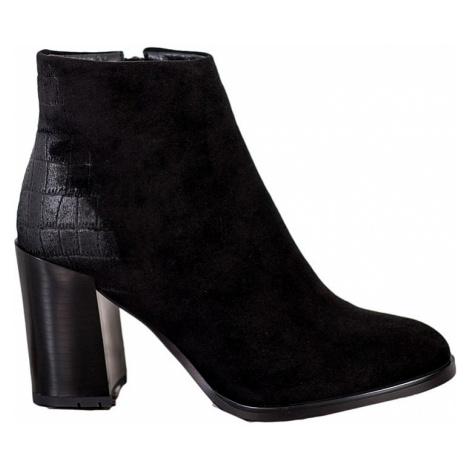 černé zateplené kotníkové boty BASIC