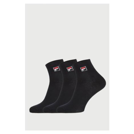 3 PACK černých kotníkových ponožek FILA