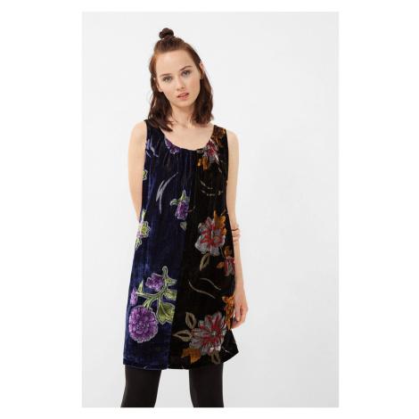 Semišové šaty s květy Desigual