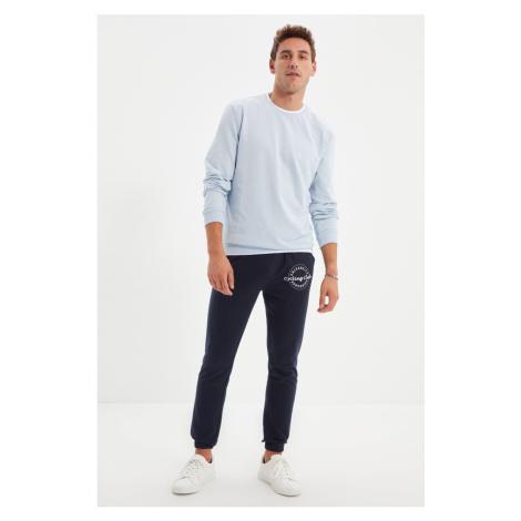 Trendyol Navy Blue Men's Regular Fit Rubber Leg Printed Sweatpants