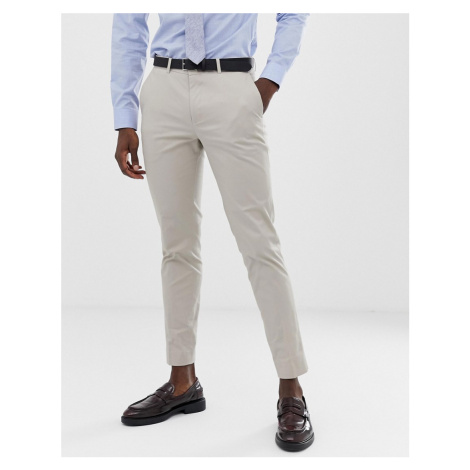 Jack & Jones Premium slim fit brushed cotton wedding suit trousers in stone-Beige