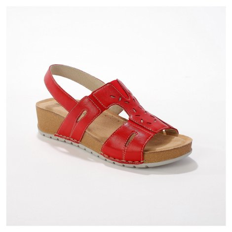 Blancheporte Kožené sandály pro širší chodidla, červené červená