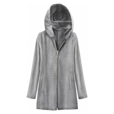 Světle šedý minimalistický kabát s kapucí (199ART) Made in Italy