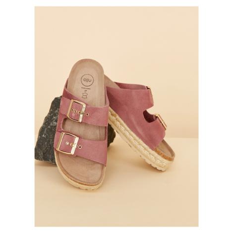 OJJU růžové semišové pantofle
