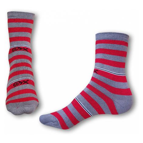 Ponožky Styx crazy červeno šedé proužky (H324)