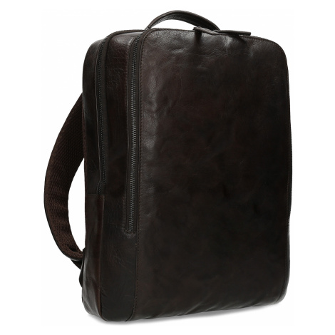 Hnědý kožený pánský batoh Baťa
