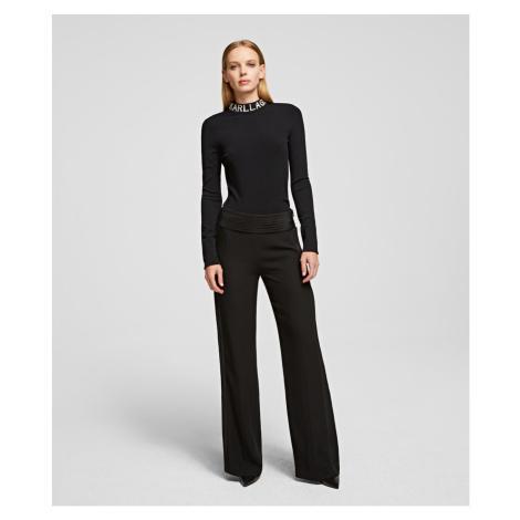 Kalhoty Karl Lagerfeld Tailored Wide Leg Pants - Černá