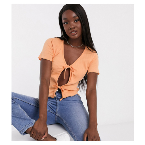 Missguided ribbed tie front crop top in peach-Orange