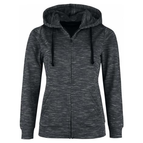 Black Premium by EMP Žíhaná šedá bunda s kapucí Dámská mikina s kapucí na zip šedá