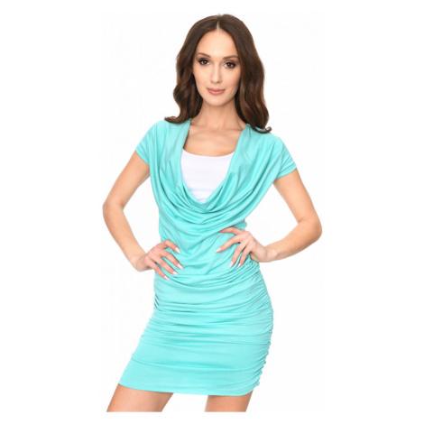 Dlouhé šaty s řasením a krátkým rukávem barva mátová