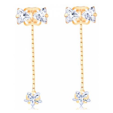 Zlaté náušnice 585 - čirá mašlička, zirkonová hvězda na řetízku Šperky eshop