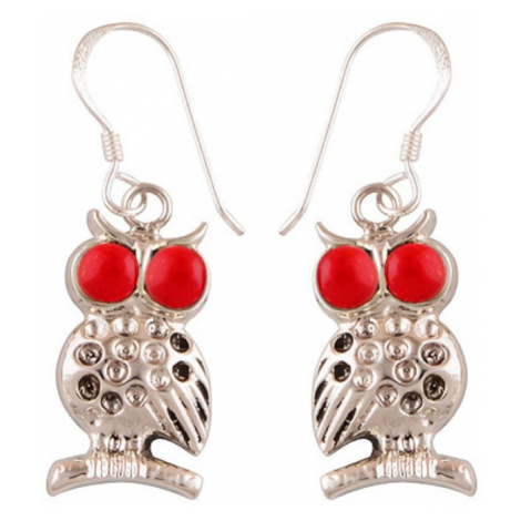 AutorskeSperky.com - Stříbrné naušnice sovy s mořskými korály -  S1298