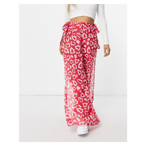 Candypants Leopard Print Side Split Chiffon Trousers in Pink