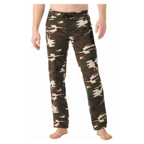 Meltonové kalhoty, rovný spodní lem khaki vojenský vzor