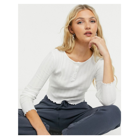 Topshop long sleeve button through top in white