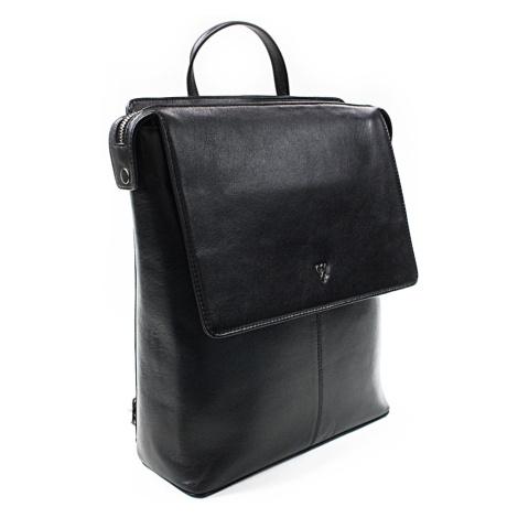 Černý městský kožený batoh Neville Arwel