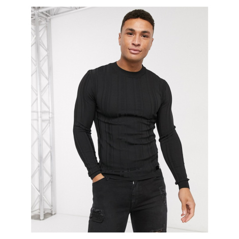 River Island long sleeve knitted muscle jumper in black