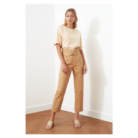 Trendyol Taba Belt Waist Detail Super High Waist Straight Jeans