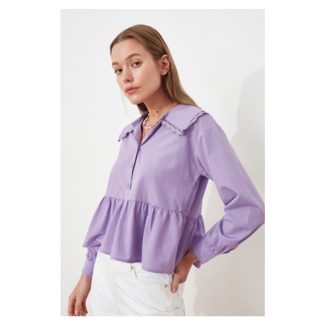 Trendyol Lilac Lace Detailed Shirt