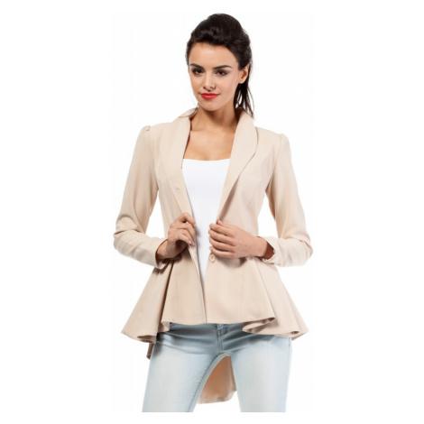 Asymetrické béžové sako s volánem a délší zadní části
