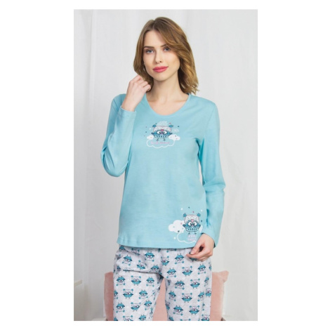 Dámské pyžamo dlouhé Sovičky, XL, světle tyrkysová Vienetta Secret