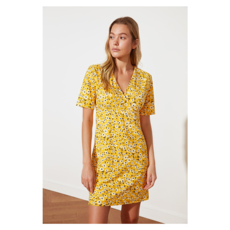 Trendyol Yellow Double Breasted Knitted Dress