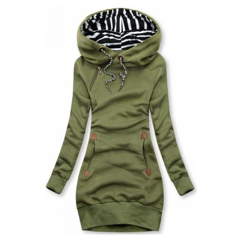 Khaki zelená dlouhá mikina s kapucí Butikovo