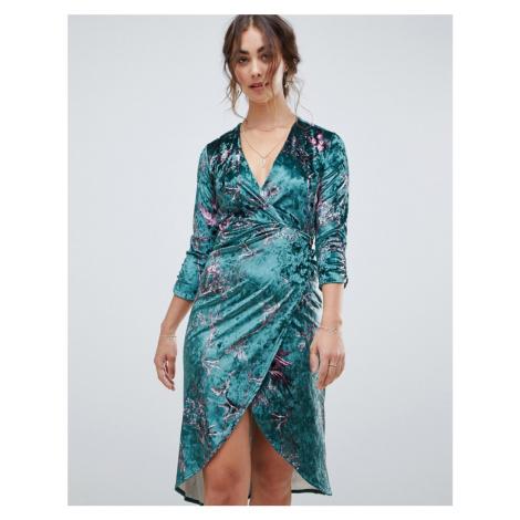 Hope & Ivy long sleeve wrap front velvet midi dress in bird print