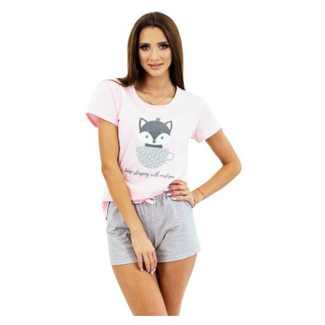 Dámské pyžamo Cat Princess růžové Kuba