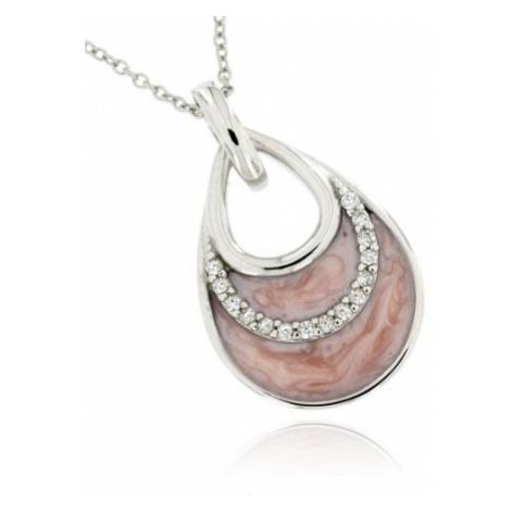 Dámský stříbrný přívěsek růžová kapka
