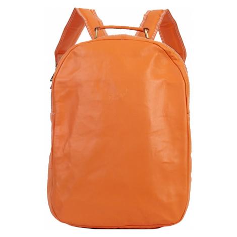 Bagind Velkey Mars - Dámský i pánský kožený batoh oranžový, ruční výroba, český design