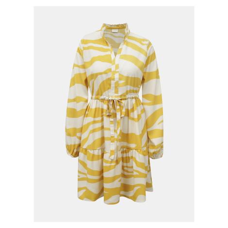 Vila krémovo-žluté šaty se vzory Omina