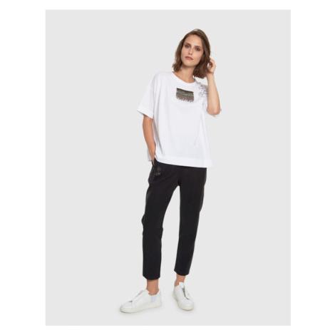 Kalhoty La Martina Woman Pant Heavy Tencel Twill - Černá