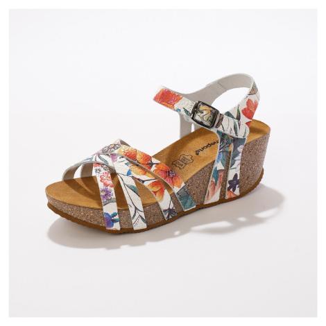 Blancheporte Kožené sandály na klínku, s potiskem bílá
