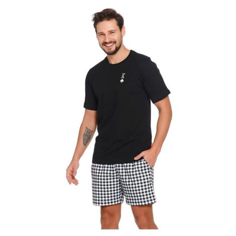 Krátké pánské pyžamo Pikový král černé