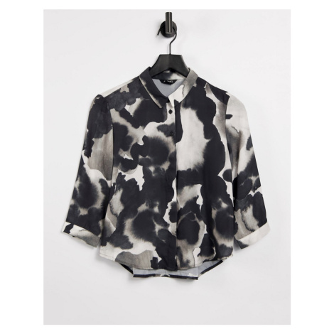 Monki Hella recycled long sleeve print shirt in black and white-Multi