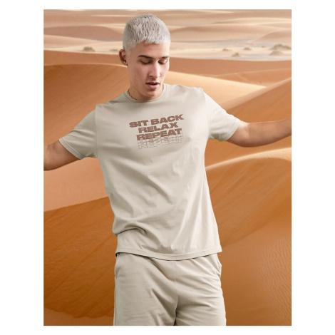 ASOS DESIGN lounge pyjama t-shirt and shorts set with slogan print-Beige