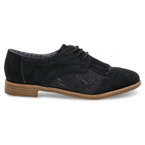 BROGUE-Black Suede/Wool With Kiltie Toms