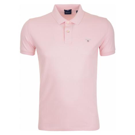 Světle růžové pánské polo Gant Slim Fit